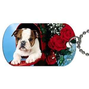 Cute valentine puppy Dog Tag with 30 chain necklace Great