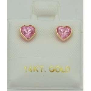 14K Yellow Gold Pink Cubic Zirconia Heart Shaped Studs