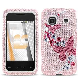 3D Pk Butterfly Bling Case Samsung Galaxy Prevail M820