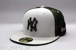 New York Yankees White Green Camo Custom Authentic MLB New Era Fitted