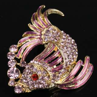 Purple Fish Cyprinoid Swarovski Crystal Pin Brooch New
