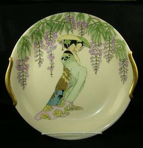 LG Limoges Hand Painted Signed Geishas & Wisteria Plate