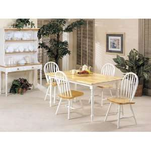 Farmhouse Design Natural and White Solid Wood Table Set