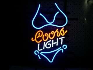 15x10 Bikini Girl Blue Logo Beer Bar Pub Store Coors Light Neon Sign