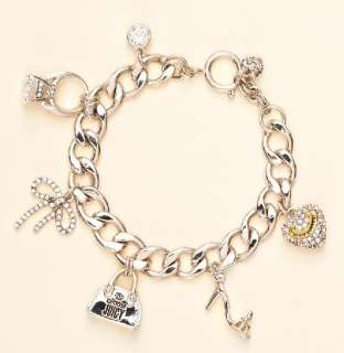 NEW JUICY COUTURE Silver Girly Charms Iconic Bracelet New in Gift Box