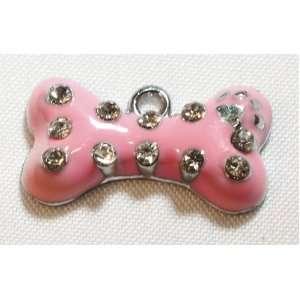Create a collar Hanging Charm Pink Bone   Large Pet