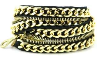 New Jewelry by Jurate Black Gold Zipper Wrap Bracelet