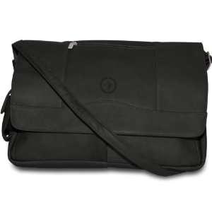 NHL Black Leather Laptop Messenger Bag