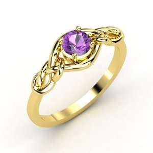 Sailors Knot Ring, Round Amethyst 18K Yellow Gold Ring