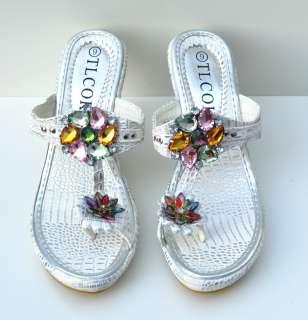 TLCOK Silver/White Platform High Heel Womens Sandals Shoes Sz 6