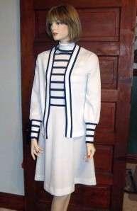 vtg 60s 70s White & Blue 2pc Dress & Jacket set 14