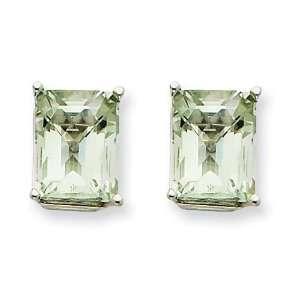 14k Goldw 9x7mm Emerald Green Amethyst Earring Jewelry