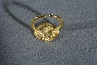 WOW CLASSIC GOLD TONE FANCY GREEK COIN BOLD RING 4.5