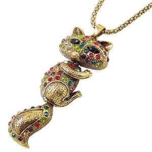 Woman Multi Color Rhinestone Inlaid Alloy Fox Shape Pendant Necklace