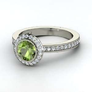 Roxanne Ring, Round Green Tourmaline 14K White Gold Ring