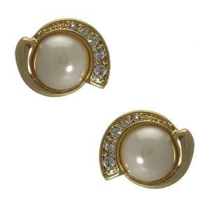 Graine Gold Pearl Crystal Post Earrings Jewelry