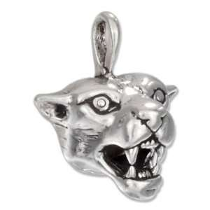 Sterling Silver Growling Cougar Face Charm. Jewelry