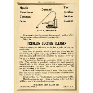 1909 Ad New Idea Sales Co. Peerless Suction Cleaners   Original Print
