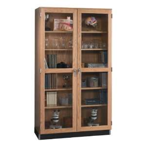 Tall wood storage cabinet with glass doors 48 w toys amp games