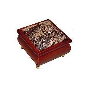 Victorian Fabric Covered Wooden Musical Box