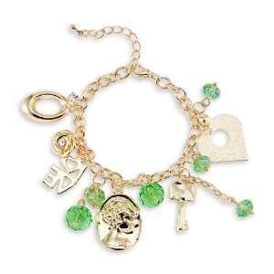 Heart Love Gold Tone Green Crystals CZ Charm Bracelet