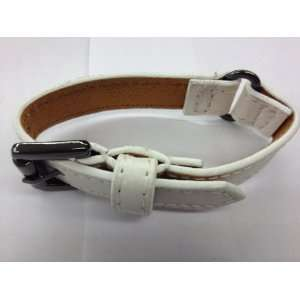 White leather bracelet with watch band design Everything