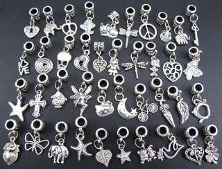 40pc Tibetan Silver Charm Beads Fit European Bracelet ☆fm170