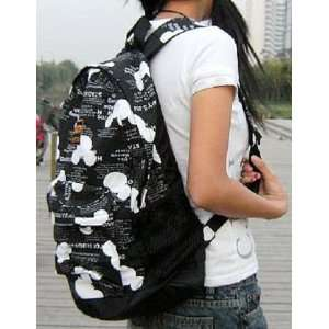 Disney Mickey Mouse Head Linen Fabric School Travel Backpack Handbag