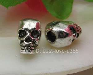 FREE SHIP 12pcs Tibetan silver horrific skull charm spacer beads BE810