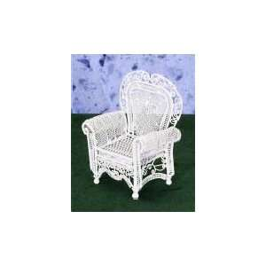 Dollhouse Miniature White Wire Rolled Arm Chair Toys
