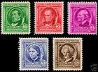 1940 Famous Americans Series COMPLETE, 35 Stamps