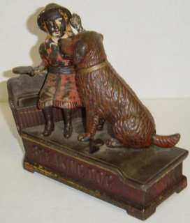 Antique SPEAKING DOG Cast Iron Mechanical Toy Bank 1885