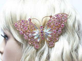 hair Barrette A Grade Crystals Butterfly Hairclip Wedding, Many colors