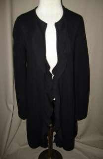 Black Long Cardigan w/Ruffle Heavy Merino Wool Ribbed Sz XS