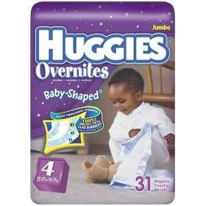 Huggies Overnites Baby Shaped Fit, Step 4 (22 37 Lbs), 31 Diapers