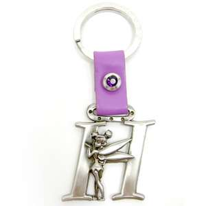 Disney Tinker Bell Letter H pewter key ring key chain