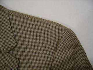 CHAPS 2 Button Mens Wool Silk Sport Coat 40R Tan Olive Houndstooth