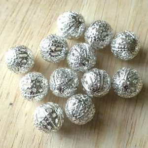 12pcs Large Silver Plate Filligree Hollow Ball Metal Beads