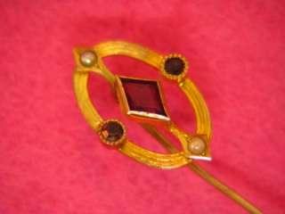 Art Deco 10K GOLD Natural Amethyst Pearl Antique Purple Gemstone STICK
