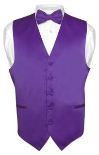 Mens PURPLE INDIGO Dress Vest BOWTie Set for Suit Tux