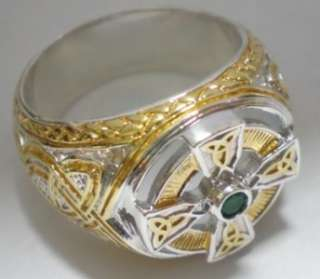 Rare Gents Franklin Mint Irish Blessing Celtic Cross Ring