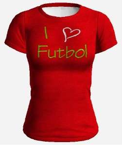 Love Heart Love Futbol Tee Shirt BLACK RED OR WHITE