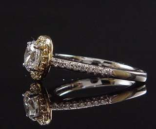 STUNNING ESTATE 18K WHITE GOLD A. JAFFE YELLOW DIAMOND HALO ENGAGEMENT