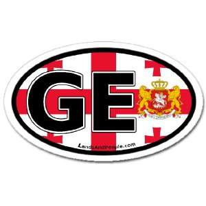Georgia GE Republic Europe and Georgian Flag Car Bumper Sticker Decal