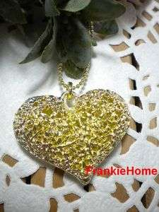 New Fashion 3D Big Hollow Heart Pendant Necklace Gold