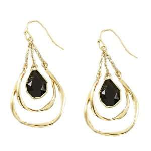 Gold Plated Dangle Earrings With Jet Black Stone For Women Jewelry