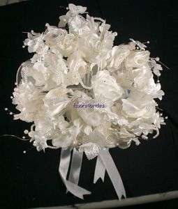 IVORY 18 SATIN ROSE BRIDAL WEDDING BOUQUET FAUX PEARL