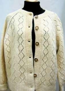 Vtg Wmns Hand Knit Wool Granny Cardigan Sweater