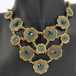 Vintage Golden Round Circle Flower Green Acrylic Beads Pendant Chain
