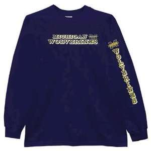 Michigan Wolverines Navy Outline Mascot Long Sleeve T